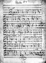 """Score of the """"Villanelle"""" (n° 1), of Hector Berlioz (1803-1869). Paris, library of the Academy of music. © Roger-Viollet"""