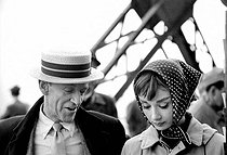 "Shooting of ""Funny Face"" by Stanley Donen. Fred Astaire and Audrey Hepburn. Paris, 1957.  © Roger-Viollet"