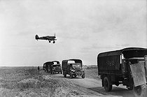 """World War II. Battle of Normandy. """"Hawker Typhoon"""", British fighter from the Royal Air Force, flying over a convoy of British trucks, July 1944. © Collection Roger-Viollet/Roger-Viollet"""