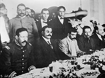 Mexican Generals Pancho Villa (1st on the left) and Emiliano Zapata (3rd on the left) at the Mexico CIty presidential palace (Mexico). In the centre: Eulalio Gutierrez, provisional president. December 6, 1914. Museum of Mexico city. © Roger-Viollet