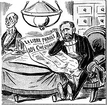Satirical cartoon of Emile Loubet (1838-1929), French Prime Minister, charged with abuse of weakness in the Panama scandals. © Roger-Viollet