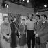 "Shooting of ""Les femmes sont marrantes"", film by André Hunebelle (1958). Marthe Mercadier, Micheline Presle, Sophie Daumier, Pierre Dudan, Yves Robert and Jacques Dynam. France, on December 13, 1957. © Alain Adler / Roger-Viollet"