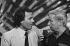 Julio Iglesias (né en 1943), chanteur espagnol, et Guy Lux (1919-2003), animateur de télévision français. France, mai 1981.  © Carlos Gayoso / Roger-Viollet