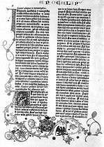 The Apocalypse of John. Page from The Gutenberg Bible, 15th century. Paris, Bibliothèque Forney. © Roger-Viollet