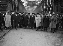Official visit of Georges Clemenceau (1841-1929), French Minister of War and President of the Council of Ministers, for the general elections. Crossing of the pont de l'Europe. Strasbourg (France), on November 4, 1919. © Roger-Viollet