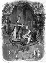 """François-René de Chateaubriand, made Knight of Malta and receiving the """"cléricature"""" by His Grace Courtois de Pressigny, September 1789. Engraving by F. Delannoy after R. Demoraine for the """"Mémoires d'outre-tombe"""". Book V, chapter 5. © Roger-Viollet"""