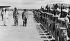 Guerre d'Indochine, 1946-1954. Le général britannique Sir John Harding passant en revue la Compagnie d'honneur de la Légion étrangère française. Aéroport de Saigon, 10 septembre 1947. © Albert Harlingue/Roger-Viollet