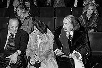 Tino Rossi, Gala and Salvador Dali presents at the time of the farewells of Charles Trenet to the stage, at the Olympia. Behind them : Caroline Cellier. Paris, 1975. © Patrick Ullmann / Roger-Viollet