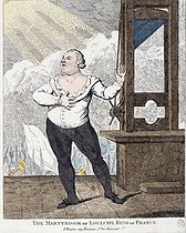 "Georges Cruikshank. ""The Martyrdom of Louis XVI, King of France - I Forgive my Enemies, I Die Innocent !!!"". Engraving. Paris, musée Carnavalet. © Musée Carnavalet/Roger-Viollet"