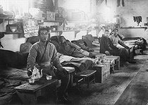 World War I. Dormitory of Chinese workers from the gunpowder factory of Saint-Fons (France). © Roger-Viollet