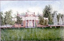 Monticello (Virginie, United-States). Country residence of the president Thomas Jefferson (1743-1826), who designed the plans. Watercolour by Jefferson Vail. French-American museum of Blérancourt.  © Roger-Viollet