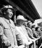 Mao Zedong (1893-1976), homme d'Etat chinois, et Nikita Khrouchtchev (1894-1971), homme d'Etat soviétique, lors des célébrations pour le 10ème anniversaire de la création de la République populaire de Chine. Pékin (Chine), 1er octobre 1959. © Ullstein Bild/Roger-Viollet