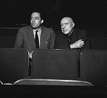 "Albert Camus (1913-1960), French dramatist, and Jacques Hébertot (1886-1970), French theatre manager, attending a rehearsal of ""Caligula"". Paris, Théâtre Hébertot, 1950. © Studio Lipnitzki / Roger-Viollet"