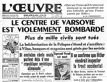 "World war II. Front page of the newspaper ""L'Oeuvre"", September 25, 1939. Bombing of Warsaw (Poland) and Sigmund Freud's death. © Roger-Viollet"