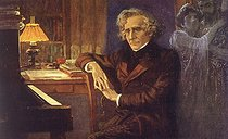 """Lionello Balestrieri (1872-1958). Hector Berlioz (1803-1869), French composer, working on """"Les Troyens"""". © Roger-Viollet"""