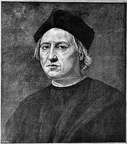 Christopher Colombus (1450 or 1451-1506), Genoese navigator, discoverer of the America. Engraving by Ernesto Ballarini from a painting given to the Genoa municipality by the sculptor Giovanni-Battista Cevasco. © Roger-Viollet