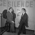 Bruno Coquatrix (1910-1979), directeur de l'Olympia et Philippe Clay (1927-2007), chanteur et acteur français. Paris, Olympia, décembre 1955. © Studio Lipnitzki / Roger-Viollet