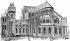 Paris. Etat du choeur de Notre-Dame et de l'Archevêché, à la fin du XIIème siècle. Dessin, XIXème siècle. © Roger-Viollet