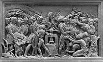 David d'Angers (1788-1856). Abolition of slavery thanks to the action of the Press. Low relief forming the pedestal of Gutenberg's statue at the Imprimerie nationale (official printing works of the French government) in Paris. © Roger-Viollet