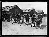"World War I. Arrival of the first US military contingents in France. US soldiers settling in their camp near Saint-Nazaire (France), late June 1917. Photograph published in the newspaper ""Excelsior"", late June 1917. © Excelsior – L'Equipe/Roger-Viollet"