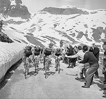Tour de France 1963. Raymond Poulidor (on the left), French racing cyclist and Federico Bahamontes, Spanish racing cyclist, leading a mountain stage. © Roger-Viollet