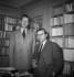 Jean-Paul Sartre (1905-1980), écrivain et philosophe français et son secrétaire. Paris. © Roger-Viollet