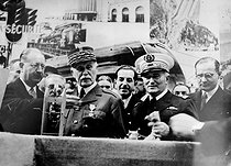 World War II. The Fair of Lyon in September, 1941. From left to right: the marshal Pétain, Lehideux (in the background), the admiral Darlan and Benoist-Méchin. © LAPI/Roger-Viollet