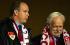 Le prince Rainier III de Monaco (1923-2005) et son fils le prince Albert (né en 1958), assistant à la demi-finale de la Ligue des Champions UEFA de football, opposant Monaco à Chelsea. Stade Louis II de Monaco (Principauté de Monaco), 20 avril 2004. © Tommy Hindley / TopFoto / Roger-Viollet