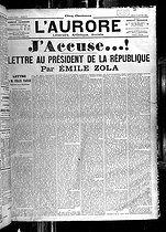 """J'accuse"", Emile Zola's letter published in ""L'Aurore"", at the time of the Dreyfus affair, on January 13, 1898. © Roger-Viollet"
