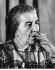 Golda Meir (1898-1878), femme politique israélienne, pendant une conférence de presse. 7 juin 1969. © Ullstein Bild/Roger-Viollet