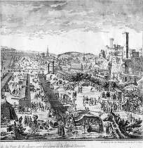 A part of the city of Tarascon (France) and the Beaucaire fair, which was suspended due to an epidemic in 1721 and restored in 1723. Engraving, French National Library. © Roger-Viollet