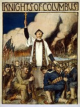 """World War I. """"Knights of Columbus"""". American propaganda poster. Colour lithograph by William Balfour Ker (1877-1918). United States, 1917. © Bilderwelt / Roger-Viollet"""
