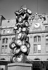 """Arman (Armand Fernandez, 1928-2005). """"L'Heure de tous"""" (Clocks). Bronze sculpture in the Cour du Havre, courtyard of the Gare Saint-Lazare train station, 1985. Paris (VIIIth arrondissement). © Roger-Viollet"""