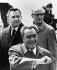 Léonid Brejnev (1906-1982), homme d'Etat soviétique, après son arrivée à Berlin-Est. En arrière-plan : Andrei Gromyko (1909-1989), homme d'Etat soviétique et Willi Stoph (1914-1999), homme politique allemand. Allemagne, 1973. © Ullstein Bild / Roger-Viollet