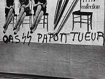 """Papon, killer"", graffiti written after the severe repression that killed 9 people after the rally against the Algerian War and the Organisation of the Secret Army on February 8. Paris, Febuary 1962. © Jean-Régis Roustan / Roger-Viollet"