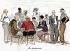 """Les Montparnos"" (bar in the Montparnasse district in Paris). Centre : Foujita. Watercolour by Sem. 1928. © Roger-Viollet"