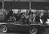 "Actors of the ""New Wave"" surrounding the AC Bristol in the film ""Les Tricheurs"" by Marcel Carné. From left to right: Alain Delon, Jean-Claude Brialy, Andréa Parisy, Bernadette Lafont, Jeanne Valerie, Laurent Terzieff, Juliette Mayniel and Gerard Blain. April 1959.$$$ © Bernard Lipnitzki / Roger-Viollet"