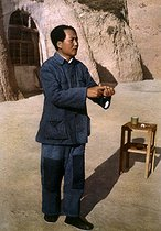 Chinese statesman Mao Zedong (1893-1976) at Yan'an at the end of the Long March. Chinese poster. © Roger-Viollet