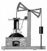 The first steam engine (1705) by Thomas Newcomen (1663-1729), English mechanic, later improved by James Watt, 1767. © Roger-Viollet