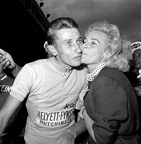 Jacques Anquetil (1934-1987), French racing cyclist, with his wife Janine, 1959.   © Roger-Viollet