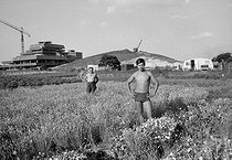 Construction of the Bobigny prefecture in the middle of the fields of market gardeners and horticulturists. Yugoslavian workers. Bobigny (France), July 1970. Photograph by Léon Claude Vénézia (1941-2013). © Léon Claude Vénézia/Roger-Viollet