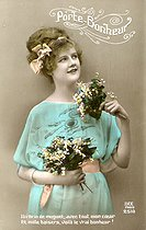 Lily of the valley of First of May lucky charm, picture postcard on 1900. © Roger-Viollet