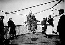 """10th anniversary of the Modern era of the Olympic Games. Churchill training for skipping on the deck of the """"Orenoque"""", boat taking him to Piraeus. Athens (Greece), 1906. © Maurice-Louis Branger/Roger-Viollet"""