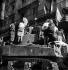 "World War II. Liberation of Paris. Parisians on the ""Laffaux"" tank from the 2nd Armored Division commanded by General Leclerc, place de l'Hôtel de Ville on August 25, 1944. © Pierre Jahan/Roger-Viollet"