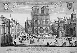 """Jean Sauvé. """"Vue de la principale entrée de l'église Notre-Dame de Paris"""". Estampe. Paris, musée Carnavalet. © Musée Carnavalet / Roger-Viollet"""