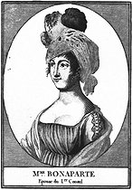Joséphine de Beauharnais (1763-1814), wife of Napoléon Bonaparte, First Consul of France. Engraving, 1800. French National Library. © Roger-Viollet