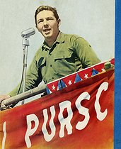 "Cuba. Raúl Castro (born in 1931), Cuban politician, making a speech. Cover of the magazine ""Bohemia"". Years 1960. © Gilberto Ante/BFC/Gilberto Ante/Roger-Viollet"
