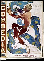 "Vaslav Nijinsky in ""L'après-midi d'un faune"". Watercolour by Leon Bakst. Coverage of the ""Comoedia"" revue for the 7-th season of Russian Ballets. Paris, 1912. © Roger-Viollet"