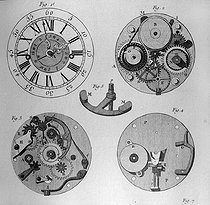 "Watch-making : watch with an alarm system. Engraving of ""Encyclopedia"" of Diderot (XVIIIth century). © Roger-Viollet"