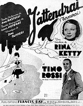 """Score of the song """"J'attendrai"""" (lyrics by Louis Poterat and music by Dino Oliveri), performed by Rina Ketty and Tino Rossi, 1937. © Roger-Viollet"""